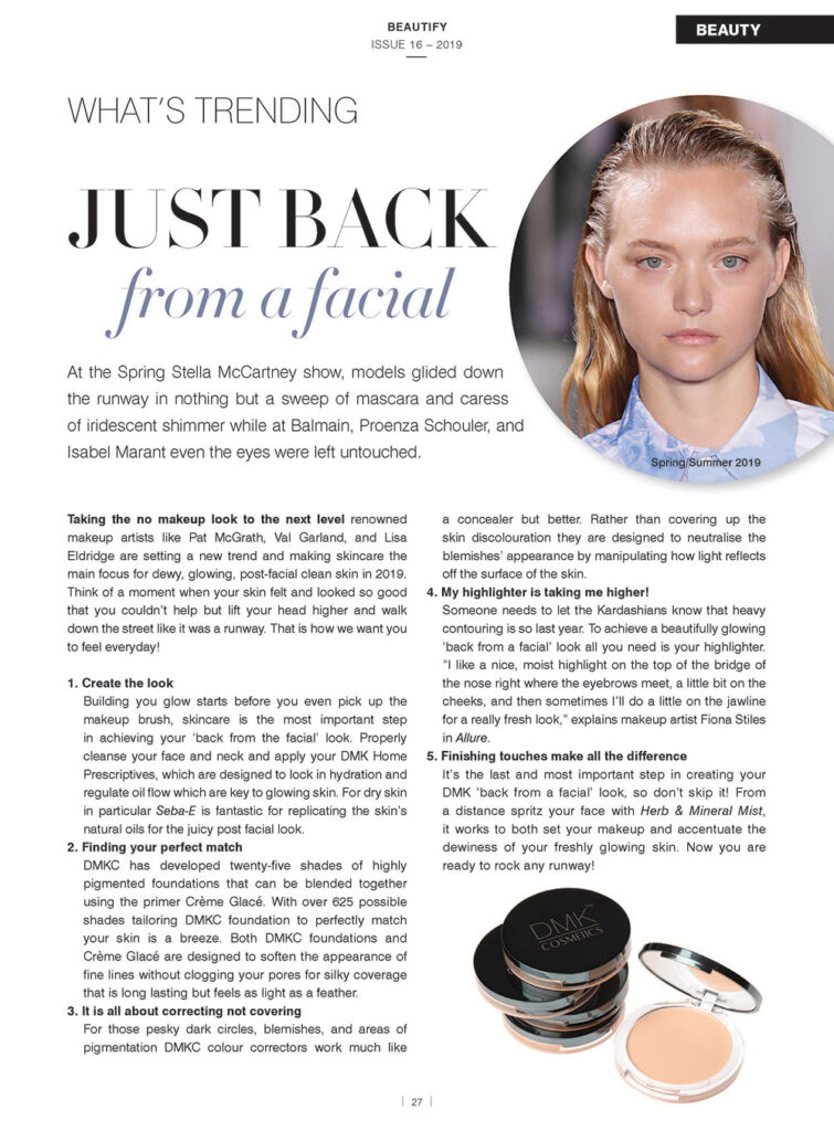 just back from a facial article